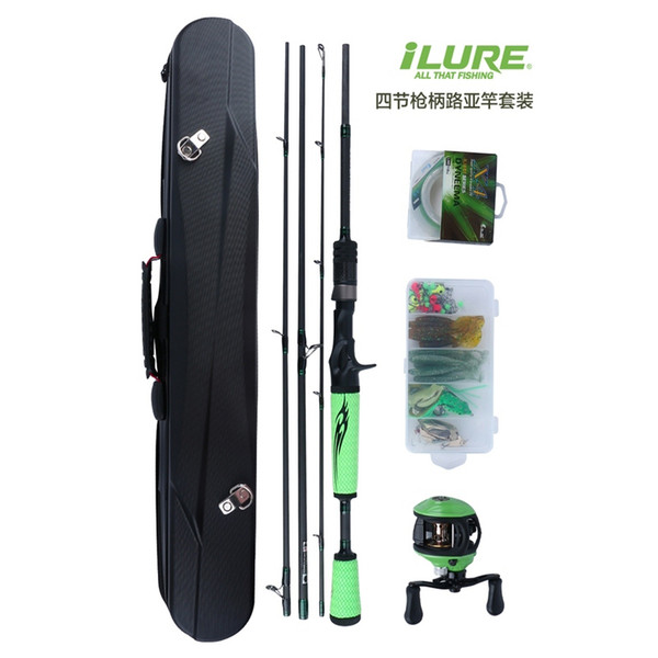 iLURE 1.98m 4 Sections Lure Fishing Rod Combo M Power Action Spinning & Casting Rod Spinning Reel Baitcast Reel