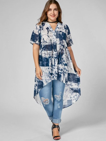 Wipalo Women Fashion Plus Size Tie Dye High Low Blouse V Neck Short Sleeves Casual Tunic Blouse Shirt Summer Big Size 4XL Blusas