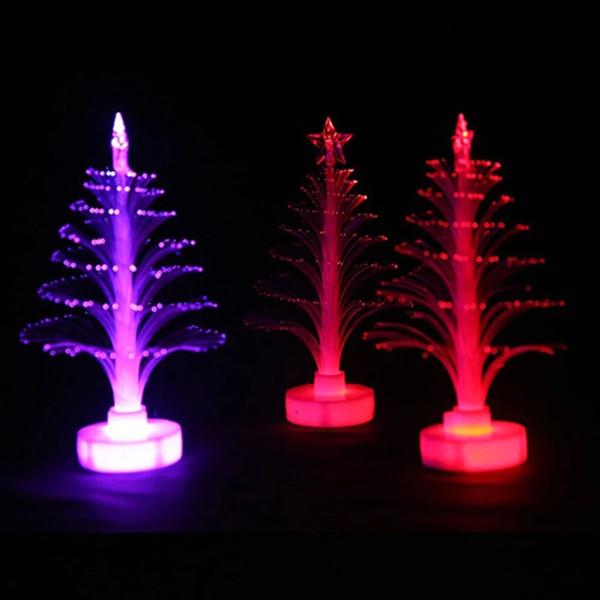 L'éclairage intérieur LED vente chaude colorée fibre optique éclairage intérieur Veilleuse Décoration Lampe Mini Arbre de Noël JK0215