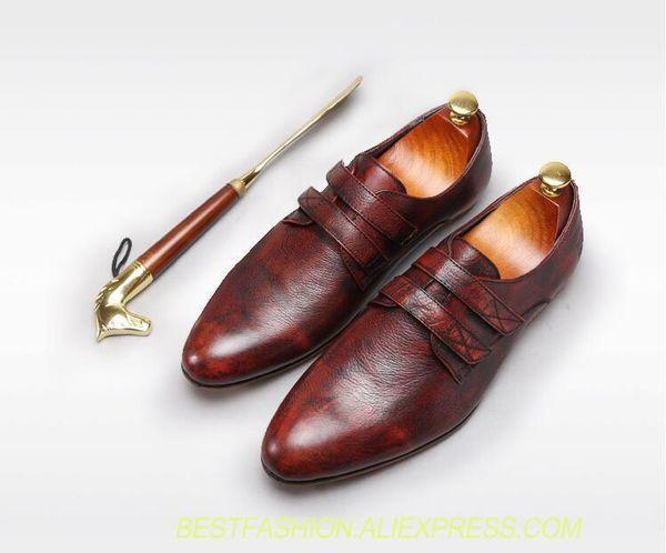 Compre Zapato Hecho A Mano Para Hombres Punta Puntiaguda Cuero Genuino Vintage Smrt Zapatos Casuales HookLoop Slip On Zapatos De Zapatos De Boda Rojos