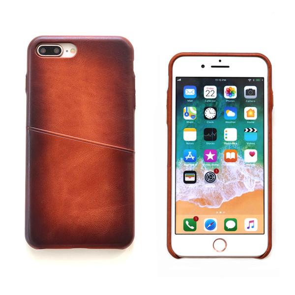 Hülle Selbst Gestalten Für Iphone 8 Plus Hülle Leder Cognac Vintage Echtes Leder Back Cover Mit Visitenkartenhalter Schmaler Fall Für Apple Iphone Xs