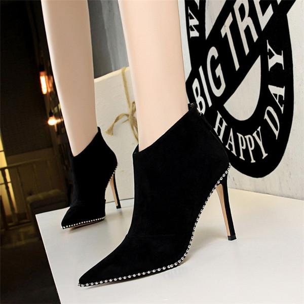 Kadın ayakkabı kadınlar için ayak bileği çizmeler perçinler bayan ayakkabıları yüksek topuklu çizmeler kadın moda çizmeler ayakkabı k ...