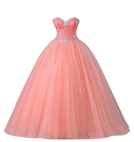 2019 Crystal Beading Ball Gown Quinceanera Dresses Tulle Lace Up Plus Size Sweet 16 Dresses Debutante 15 Year Formal Party Dress BQ188