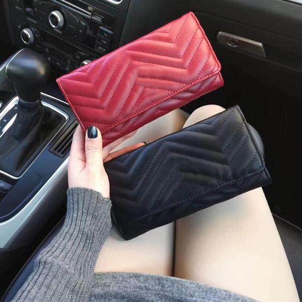 New 2019 women wallet marmont famou de igner pu leather fa hion ingle zipper ladie long pur e, Red;black