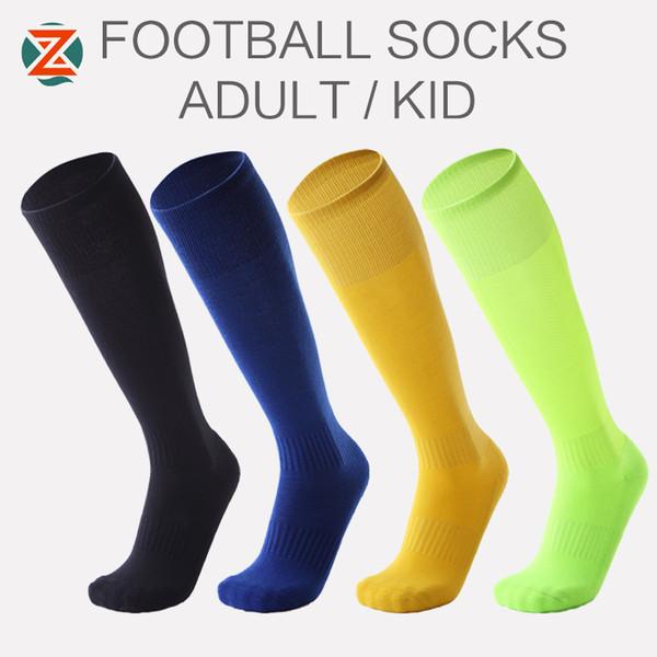 Children Professional Sports Soccer Socks Pure Color Knee-High Man Deodorization Towel football compression Sock for kids