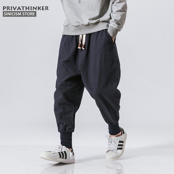 Sinicism Store Japanese Casual Cotton Linen Trouser Male Harem Pant Men Ankle Banded Jogger Pant Chinese Traditional Clothe Q190330
