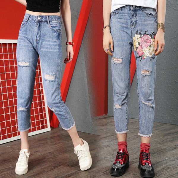 598a719220c Модные блестки женские джинсы отверстие 3D из бисера цветок джинсовые брюки  повседневная девушка джинсы