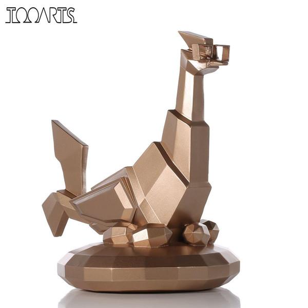 Tooarts Tomfeel Glasses Chicken Figurine Resin Craft Gift Modern Art Figurine Animal Ornaments For Home Decor