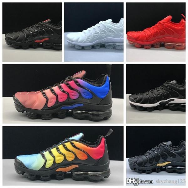 Новые товары Мужские кроссовки Tn Plus 2018 Классические кроссовки для бега на открытом воздухе Дизайнерские кроссовки Tn Black White 7-11