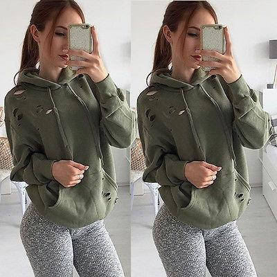 Fashion Womens Casual Hoodied Ripped Hole Sweatshirt Pullover Tops Dark Green Long Sleeve Sweater for Femme