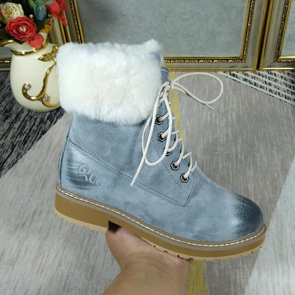 High Top Ankle Snow Boots for Women Lace-Up VGG Vintage Platform Square Heels Fur Shoes Casual Lady Boots with Origin Box Botas Mujer