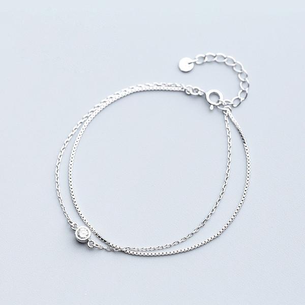 La MaxZa cadena de doble capa de circón pulseras del encanto para las mujeres 925 pulsera de plata esterlina joyería minimalista para mujer accesorios
