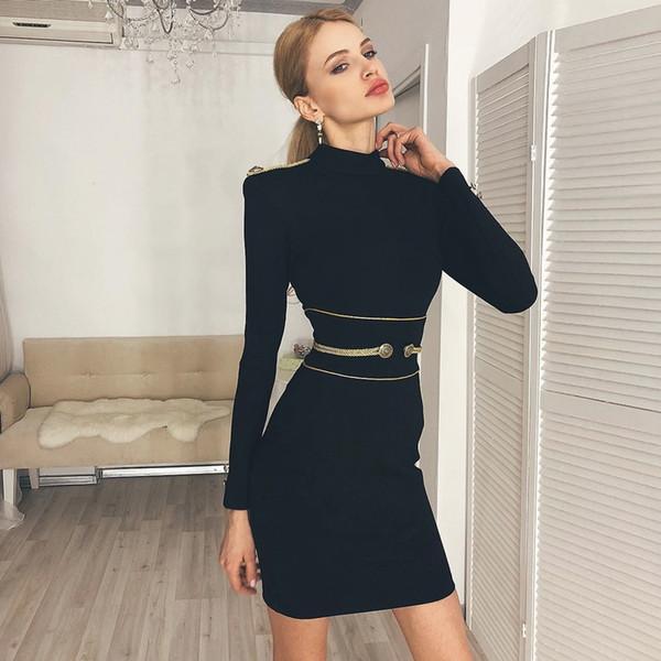 Smart Neat Gold Button impreziosito abito nero dalla fasciatura per le donne manica lunga manica lunga con scollo a righe a righe mini abito vestidos club