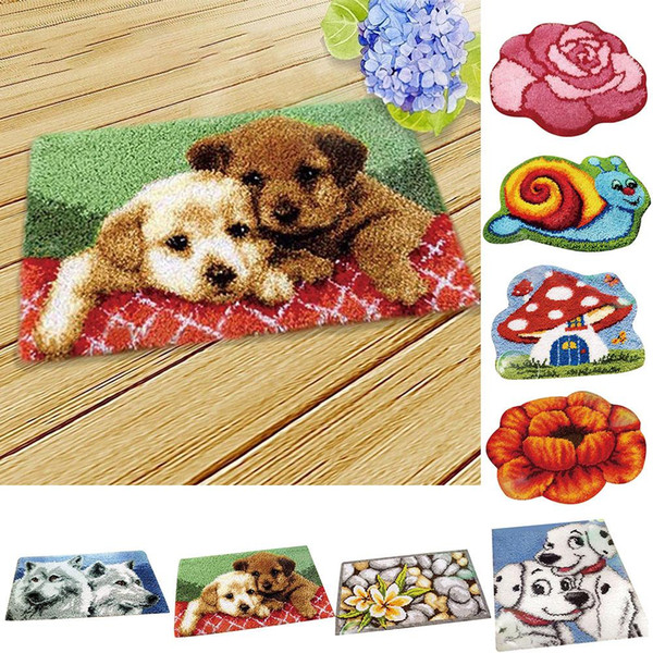 3D Embroidery Carpet Needlework mestiere di DIY Fuzzy Cuscino Set Tappeto Unfinished Crochet