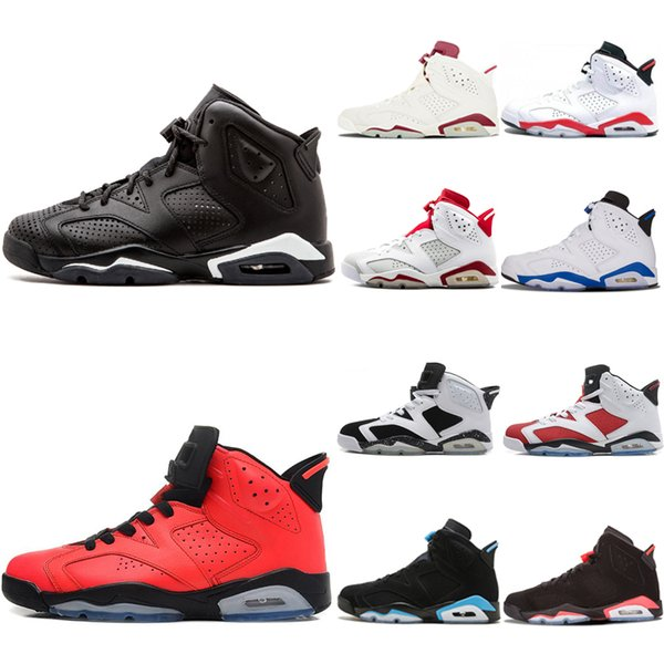Hot Top 6 Mens Black Cat Oreo Basketball Shoes 6s Infrared Angry bull UNC White Infared Sport Blue Women Outdoor Marron Sports Sneakers