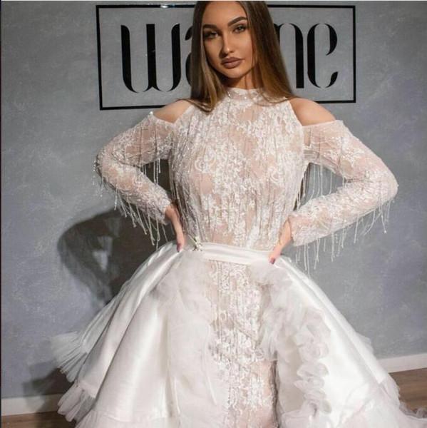 Evening dress Yousef aljasmi Labourjoisie Zuhair murad Ball Gown Jewel Long Sleeve White Tulle Lace Tassles Long Dress James_paul