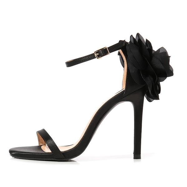 Printemps et été nouvelles sandales à fleurs européennes et américaines en cuir de satin fleurs à talons super chauds style sandales à bout ouvert sandales à boucle