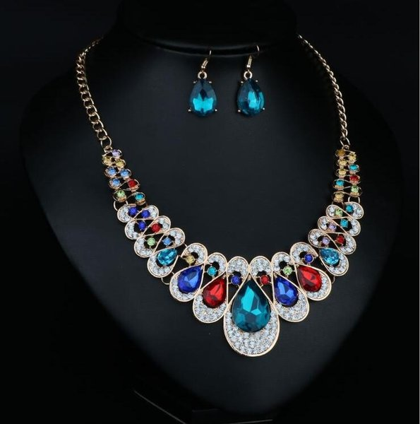 50 sets/lot,Inlaid colour Twinkle Crystal Necklace Earring 2pcs suit with Brand element Glittering women Evening Party Elegant jewelry Sets