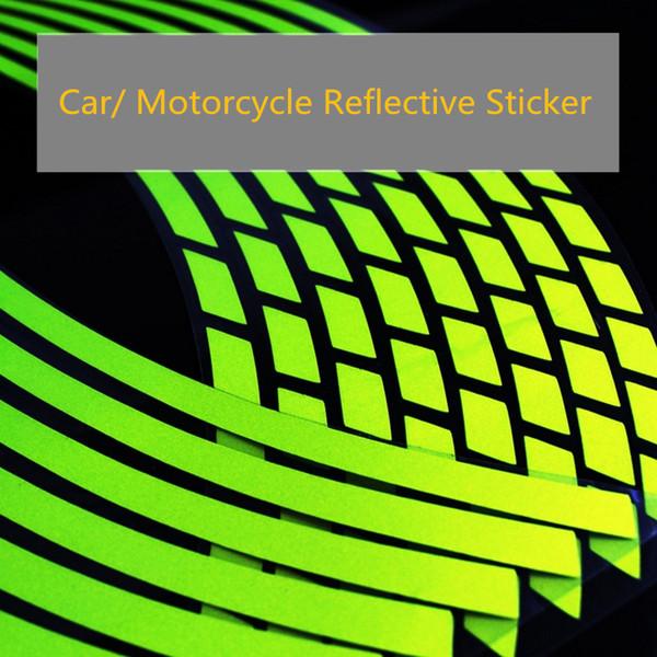 16 Pcs 18 16 14 12 polegadas Tiras Da Motocicleta Carro Pneu Da Roda Adesivos Reflexivo Rim Fita Moto Auto Decalques