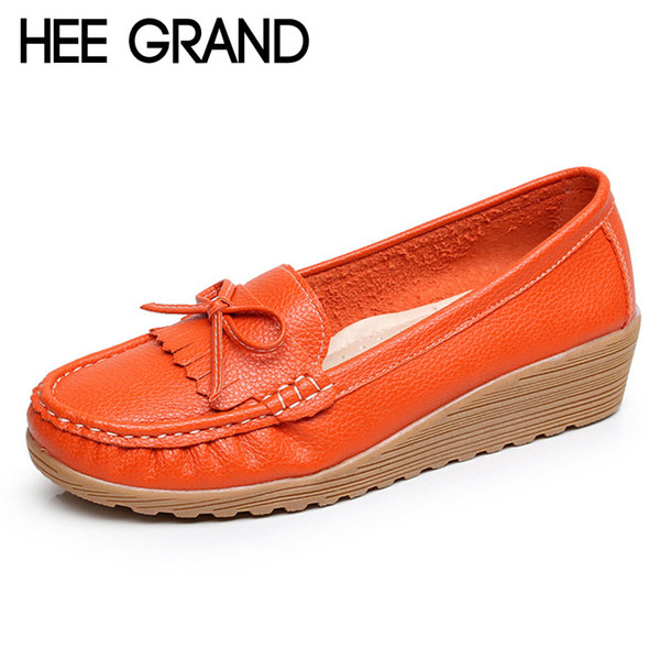 2019 HEE GRAND Tassel Loafers Casual Wedges Platform Shoes Woman Creepers Slip On High Heels Comfort Women Shoes Size 35-40 XWD4357