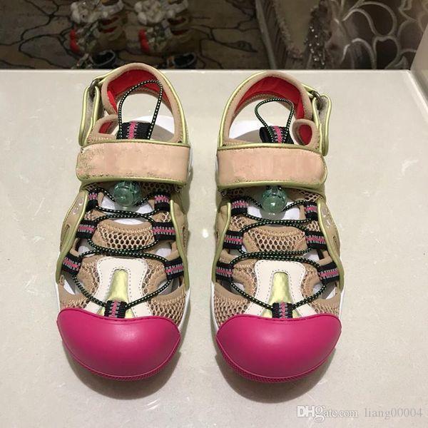sandálias de grife de luxo de couro corrente de metal de verão sandálias de praia sapatos da moda 2019 mulheres, caixa de tamanho 35-44 mh190528