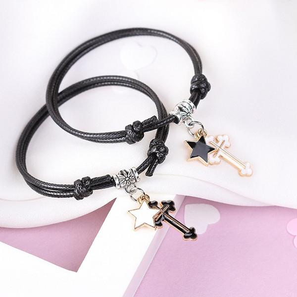 2 PCs/lot Couple Bracelet Alloy key Heart Lock Charm Bracelet Handmade Jewelry Rope Bracelet Lovers Gifts for Women