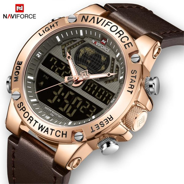 naviforce new men watch leather waterproof sport men watches quartz analog digital watch male relogio masculino, Slivery;brown