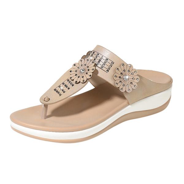 SAGACE Women Slippers Roman Sandals Flat Bohemian Female Sandals New Fashion Female Casual Solid Slipper 90314367