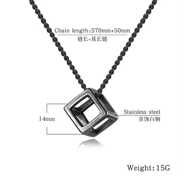 endant Necklaces Fate Love Stainless Steel Pendant Necklace Cube Personalized Black Shiny Color Silver Necklace For Men Best Gifts Jewelr...
