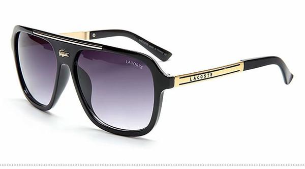 Homens de luxo marca designer sunglass atitude óculos de sol quadrado logotipo na lente dos homens marca designer óculos de sol brilhante Preto marca de ouro