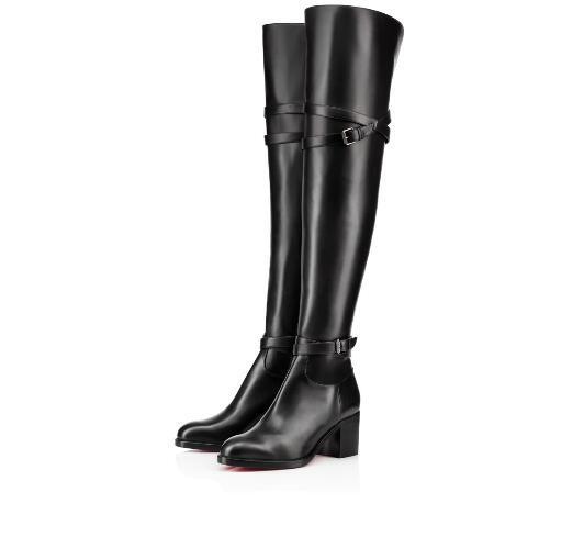 vernarosa / Moda inverno botas até a coxa sexy inferior vermelho sobre o joelho bota karialta preto mulheres de couro genuíno botas altas vestido de noiva fest