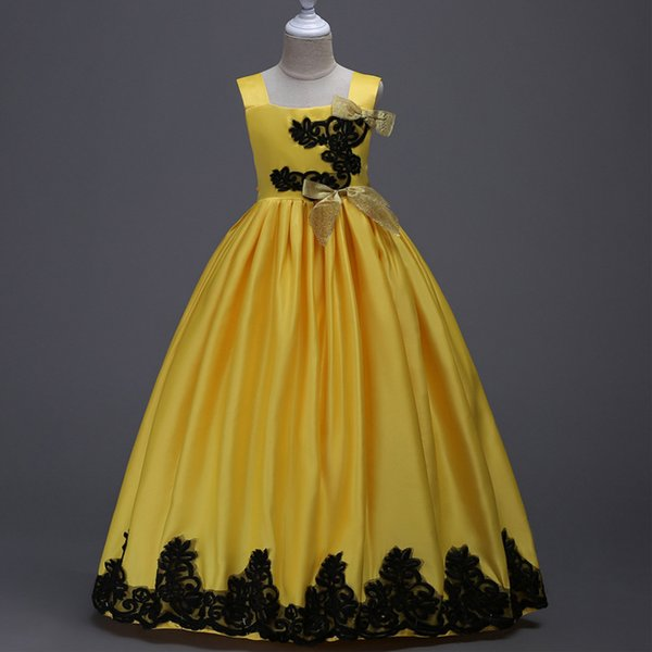 Lace Satin Flower Girl Dresses Bow Spaghetti Little Girl Wedding Dresses Cheap Children Pageant Dresses Gowns