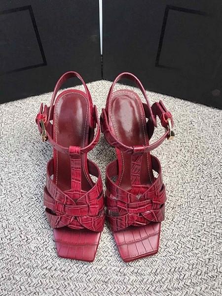 Nova Patente De Tributo / Sandálias De Plataforma De Couro Macio Sapatos Femininos T-cinta De Salto Alto Sandálias Senhora Sapatos De Bombas De Couro Original