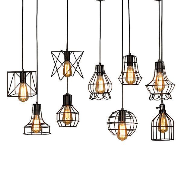 Pendant Light JML industriale metallo Rustico Lampadario Vintage Hanging Cage soffitto del globo per le lampade per Isola della cucina Sala da pranzo