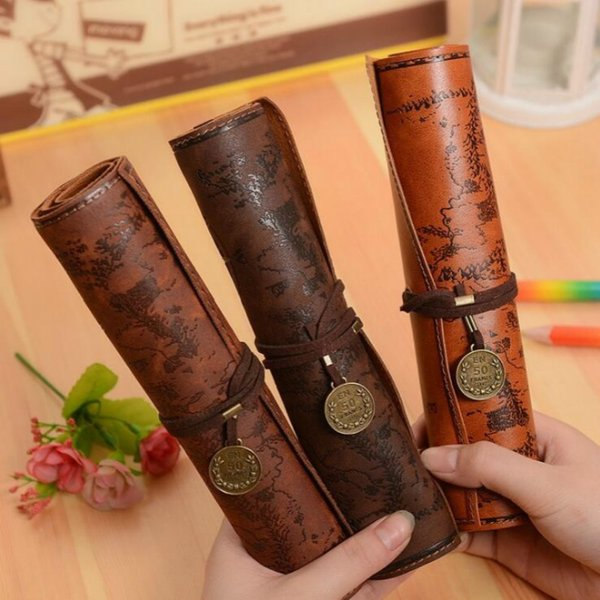 Vintage Retro Pencil Roll Treasure Map Luxury Leather PU Pen Bag Pouch For Stationery School Supplies Make Up Cosmetic Bag