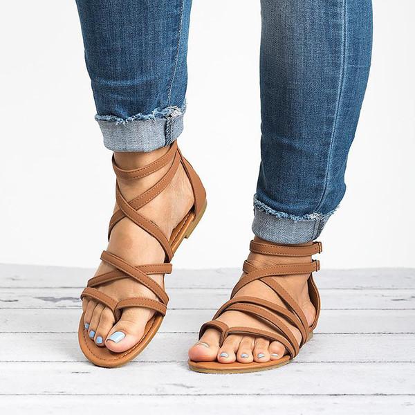 MCCKLE Yaz Kadın Gladyatör Sandalet Çapraz Bağlı Kapak Topuk Zip Kadın Toka Düz Moda Casual Beach Ayakkabı Bayanlar Ayakkabı