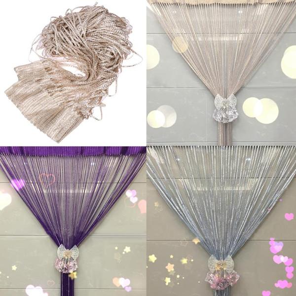 top popular Modern Cute Flash Line Shiny Tassel String Door Curtain Window Room Divider Curtain Valance Home Decoration 200x100cm 2021