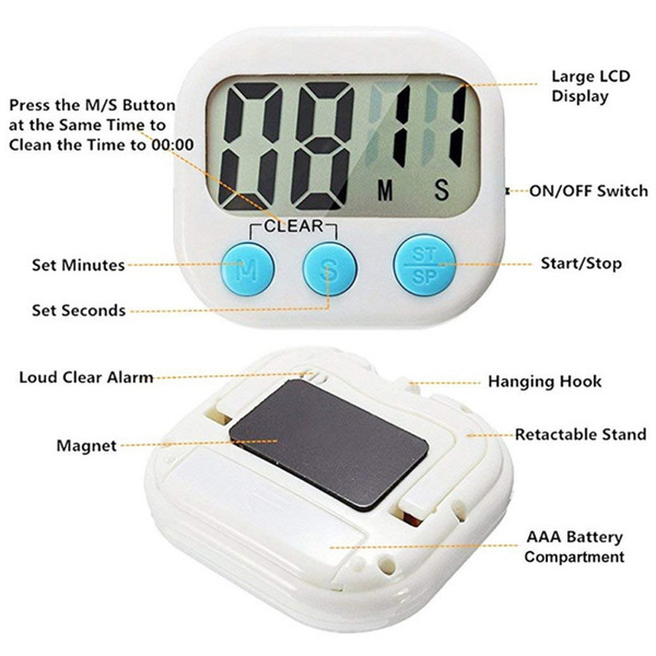 LCD Screen Digital Kitchen Timer Cooking Reminder with Stand Handing Hook Loud Alarm Magnet Design for Sticking to Refrigerator