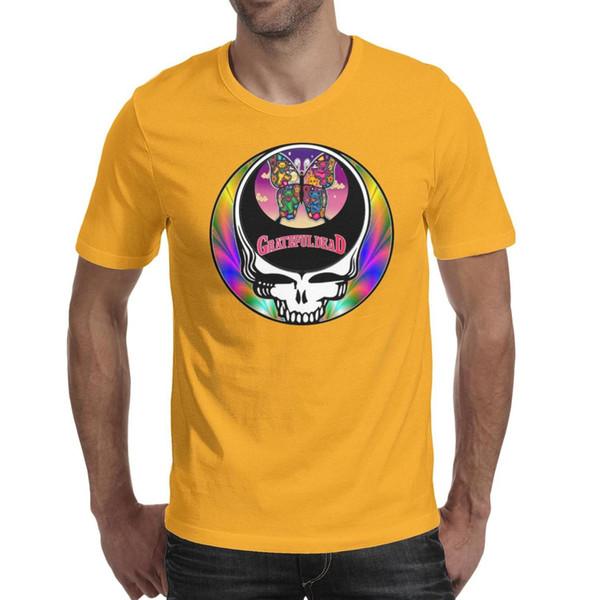 Diseño para hombre de impresión agradecido muerto robar su cara mariposa camiseta amarilla impresión personalizada fresco superhéroe amigos camisas slim fit