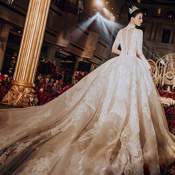 Langarm Französisch Hochzeitskleid Neue Drag-tailed Palace Forest Bride Hepburn Style