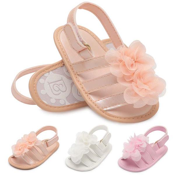 2019 novo Verão floral Bebê Mocassins Macio Do Bebê Primeiro Walker Sapatos meninas sapatos Sandálias Do Bebê princesa Flor Sapatos Infantis Sapato Recém-nascido A1786