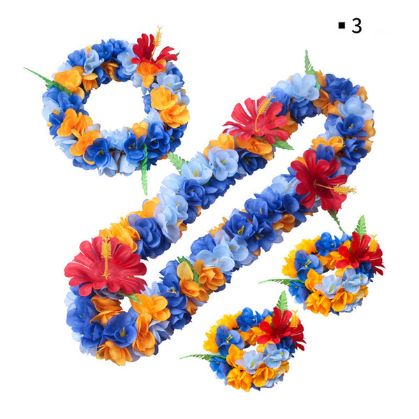 High Quality Ladies Beach Party Hawaiian Hula Leis Festive Party Garland Artificial Silk Necklace Flowers Wreaths Holiday Decorative Flowers