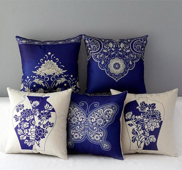 Chino tradicional azul y blanco porcelana floral fundas de cojines flor caballo ciervos mariposa cubierta del amortiguador de lino de algodón funda de almohada