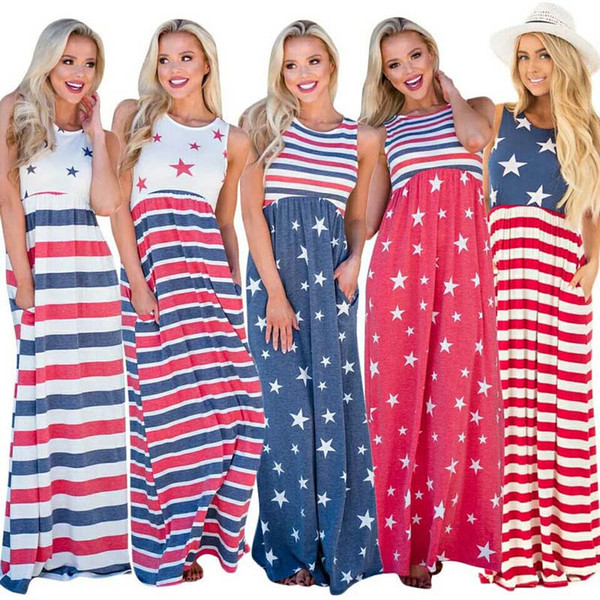 best selling Lady Beach Maxi Dress Stars Striped Printed Waist Elastic Pocket Sleeveless Vest American Flag Independence Day Patchwork Plus Sundress