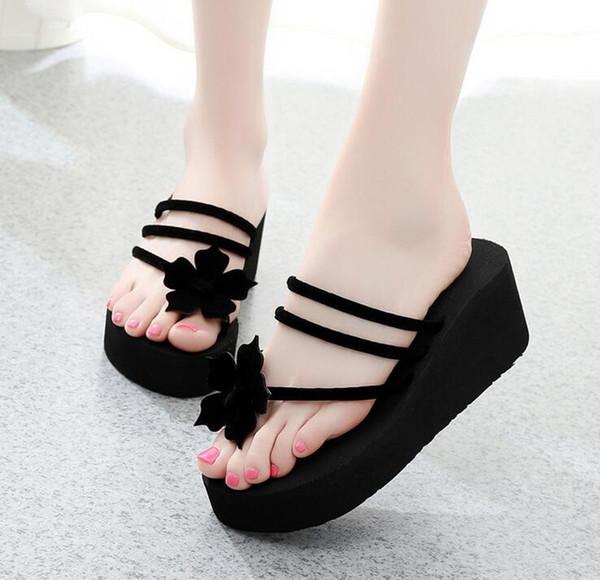 2019 Women EVA Sequins Beach Slippers Flip Flops Sandals Casual Women Wedges Platform Slippers Zapatos Mujer Slides Femme