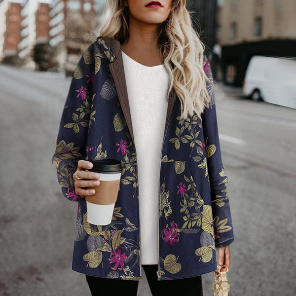 womens print coat winter fleece warm vintage pockets oversize hooded parka female casual jacket plus size