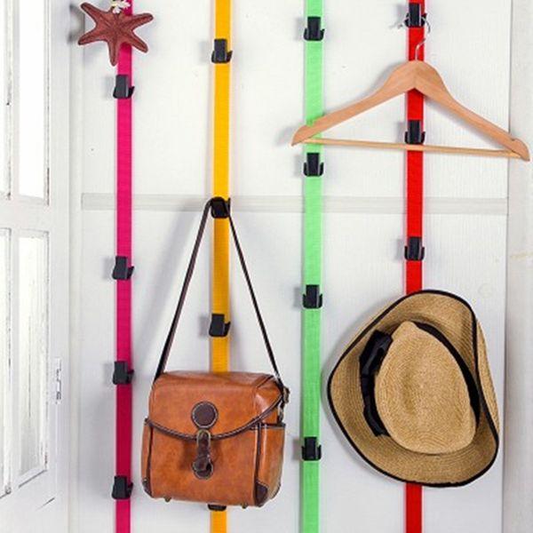 Adjustable over door straps bag hanger coat hook hat bag clothes storage rack home organizer creative