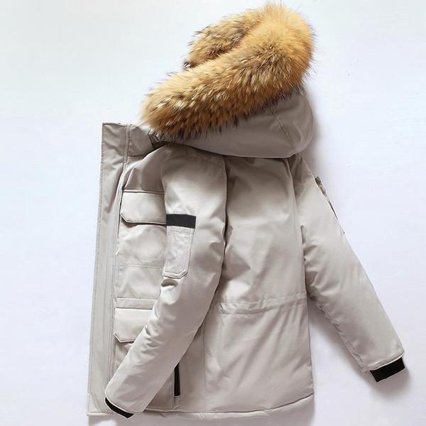 2019 nuevo estilo de lujo Canadá invierno para hombre de la chaqueta del diseñador de Down Parka Prendas de vestir exteriores encapuchada de la piel grande de Canadá hacia abajo chaqueta de la capa tamaño M-XXXL