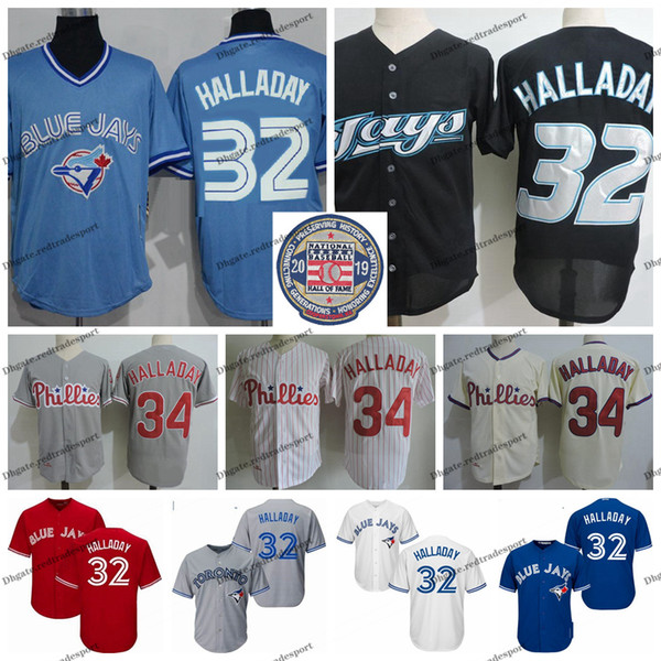 2019 Salão Vintage da Fama 32 Roy Halladay Toronto Halladay Blue1Jays Baseball Jerseys Philadelphia1Phillies 34 Harry Halladay Shirts M-XXXL