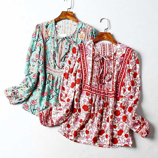 top popular women rose floral print Long Sleeve blouses shirts sexy V-neck casual bohemian beach tops new spring summer holiday boho rayon cotton blouse 2021